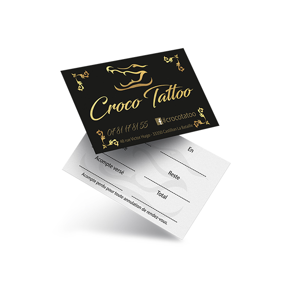 Carte de viste salon de tatouage - Croco Tattoo